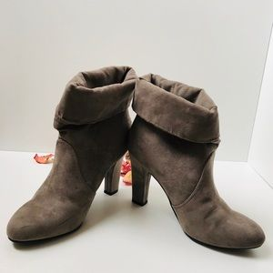 Express Vegan Suede Tan Nude Ankle Boots Booties 6